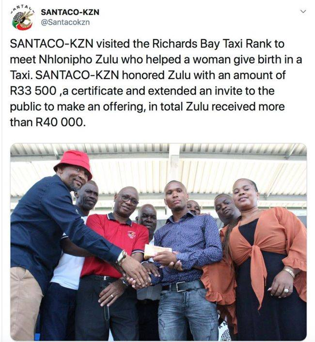 Taxi driver who helps deliver a baby rewarded